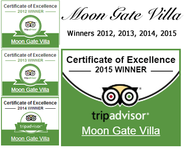 Tripadvisor Certificate of Excellence 2012, 2013, 2014 and 2015
